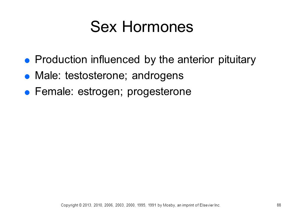 Sex Hormones Production influenced by the anterior pituitary