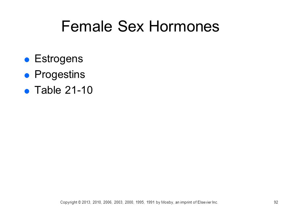 Female Sex Hormones Estrogens Progestins Table 21-10