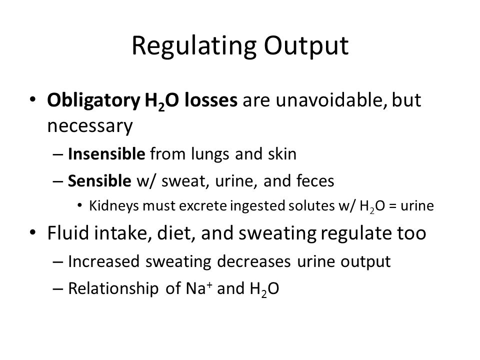 Regulating Output Obligatory H2O losses are unavoidable, but necessary