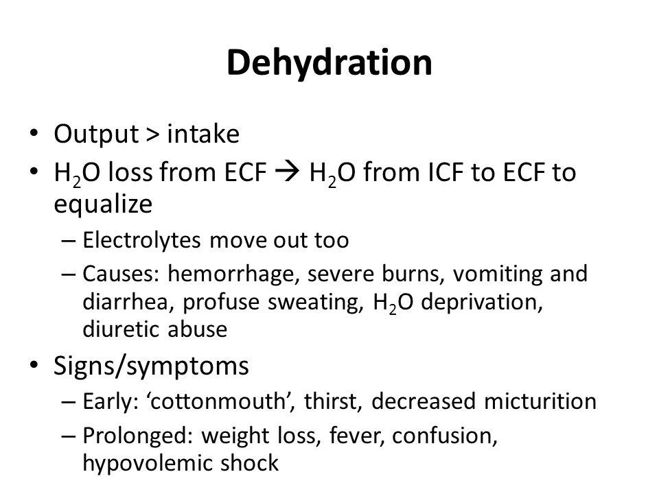 Dehydration Output > intake