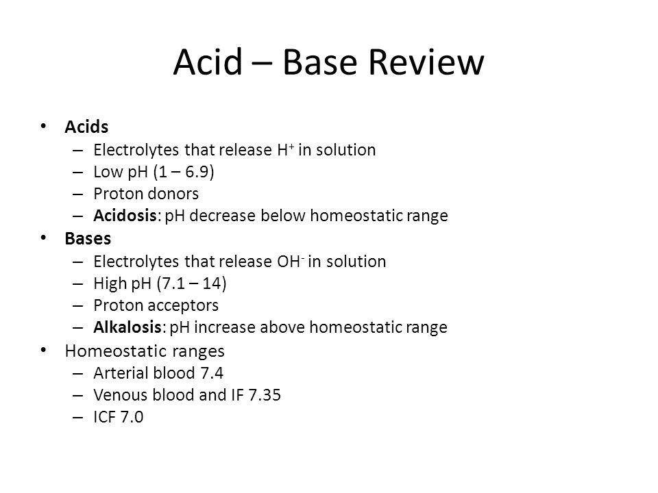 Acid – Base Review Acids Bases Homeostatic ranges