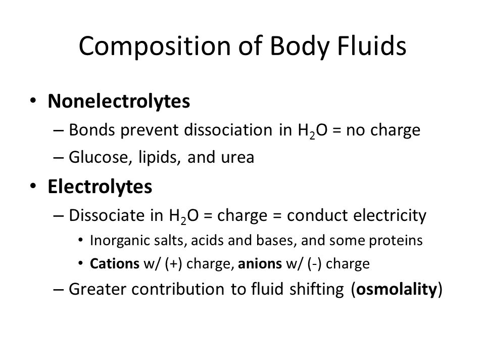Composition of Body Fluids