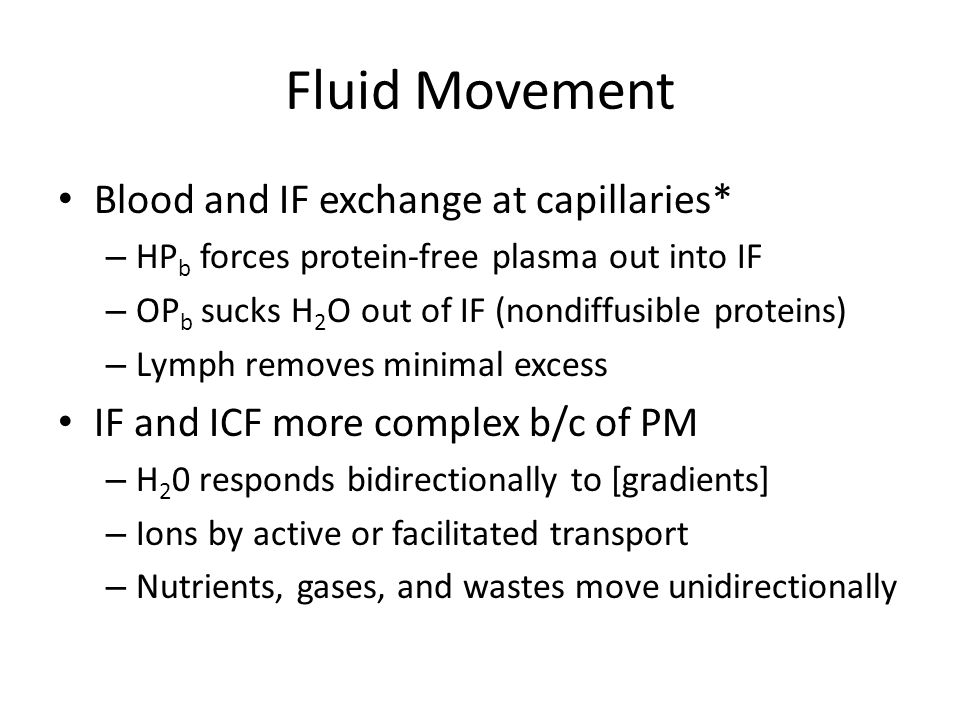 Fluid Movement Blood and IF exchange at capillaries*