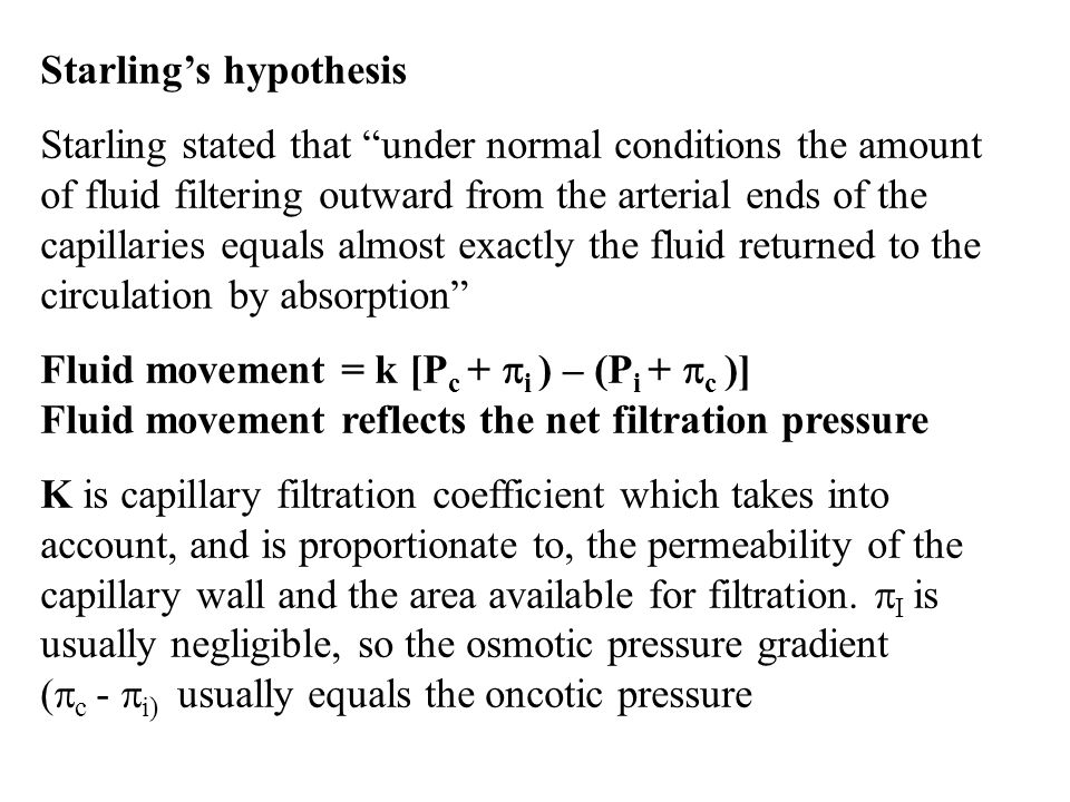 Starling's hypothesis