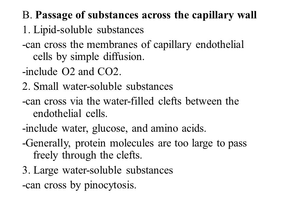 B. Passage of substances across the capillary wall
