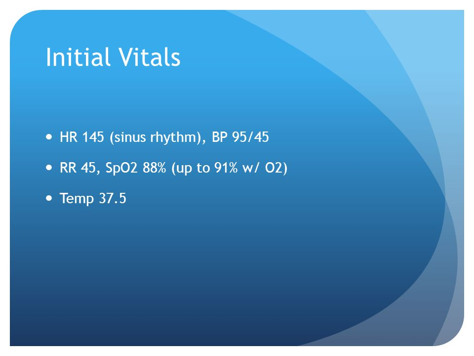 Initial Vitals HR 145 (sinus rhythm), BP 95/45