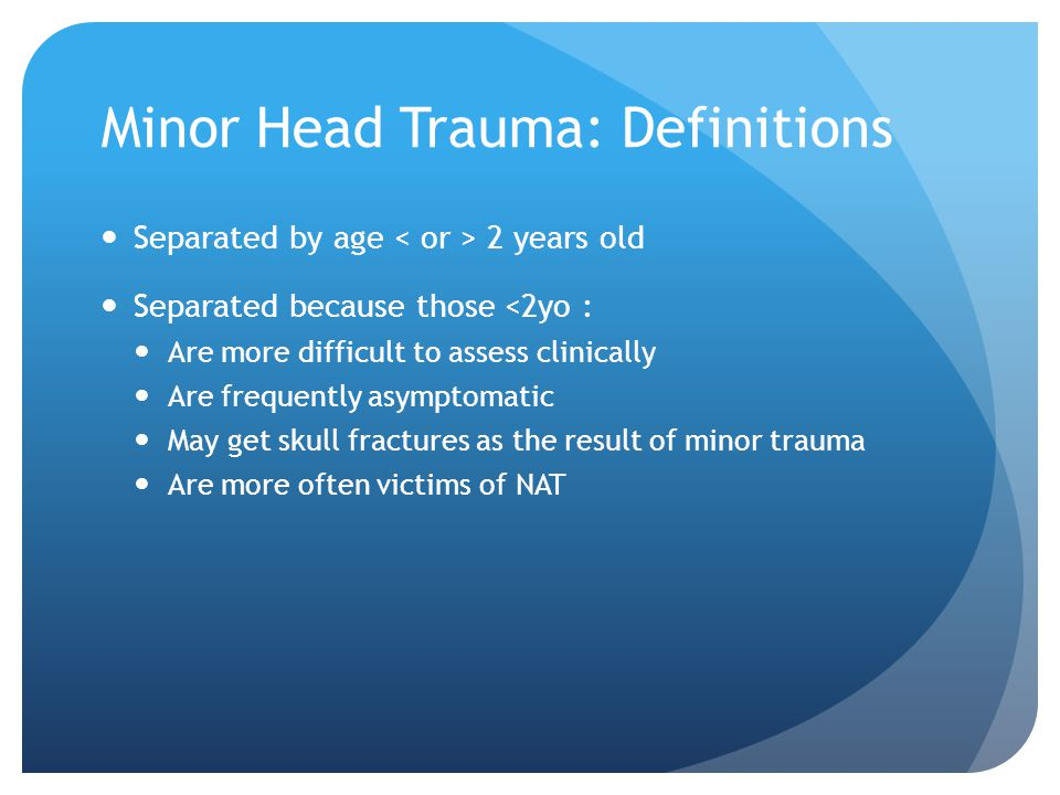 Minor Head Trauma: Definitions