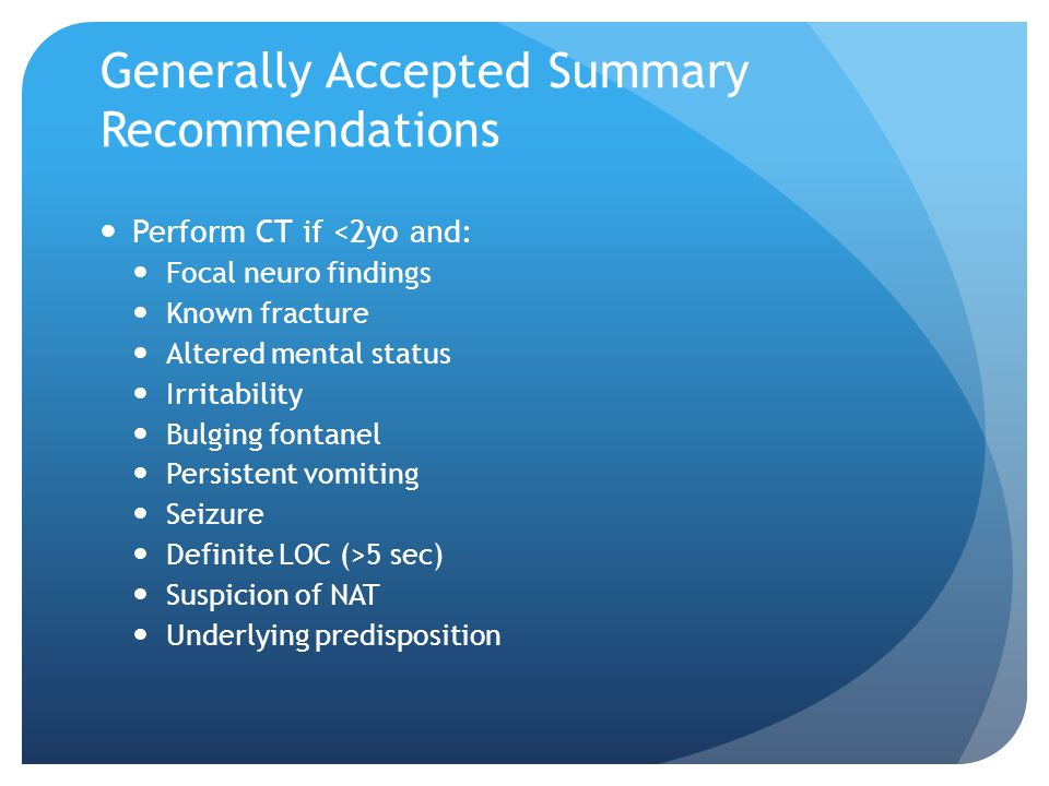 Generally Accepted Summary Recommendations
