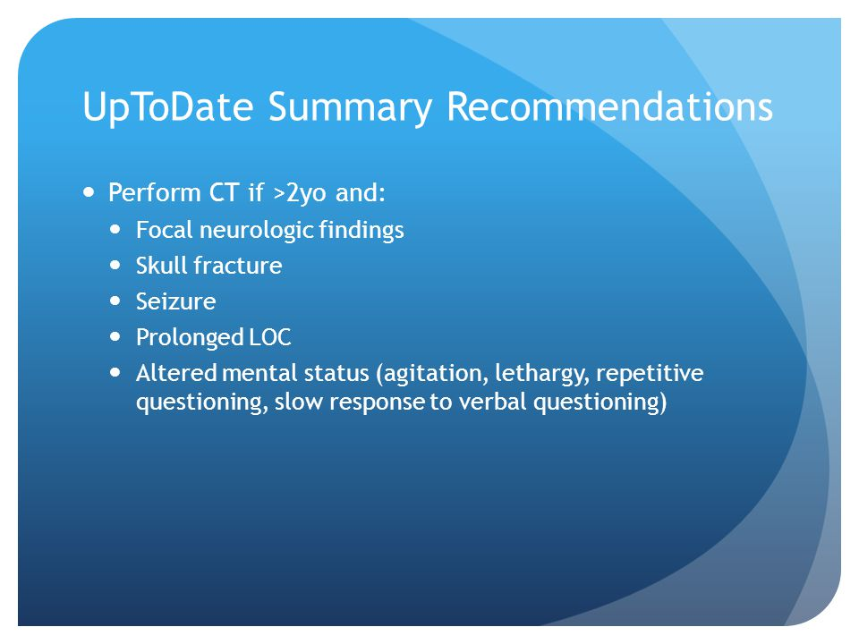 UpToDate Summary Recommendations