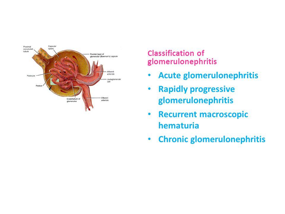 Acute glomerulonephritis Rapidly progressive glomerulonephritis