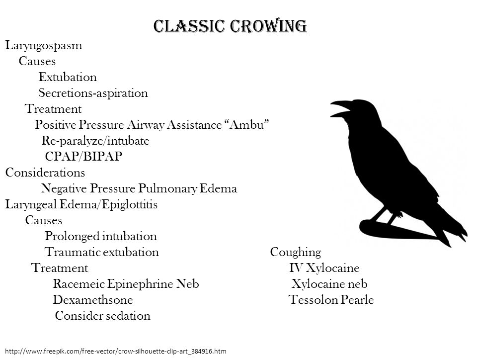 Classic Crowing Laryngospasm Causes Extubation Secretions-aspiration