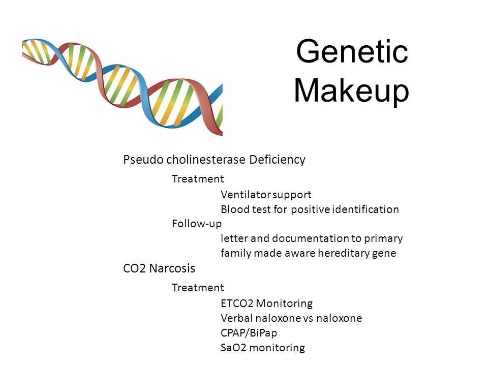Genetic Makeup Treatment Pseudo cholinesterase Deficiency CO2 Narcosis