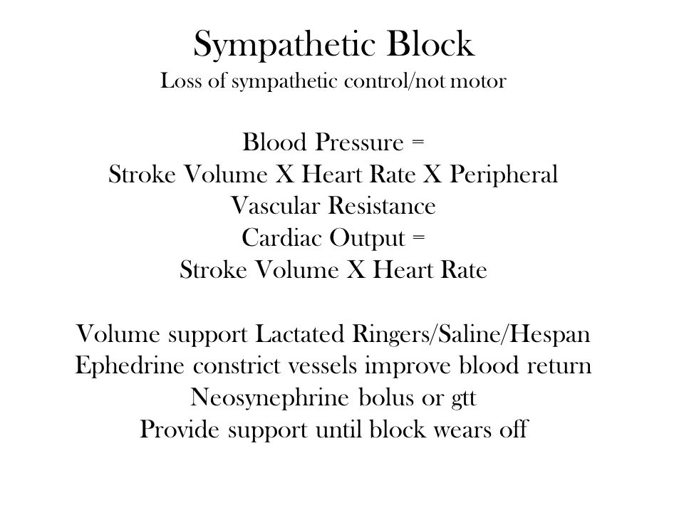 Sympathetic Block Blood Pressure =