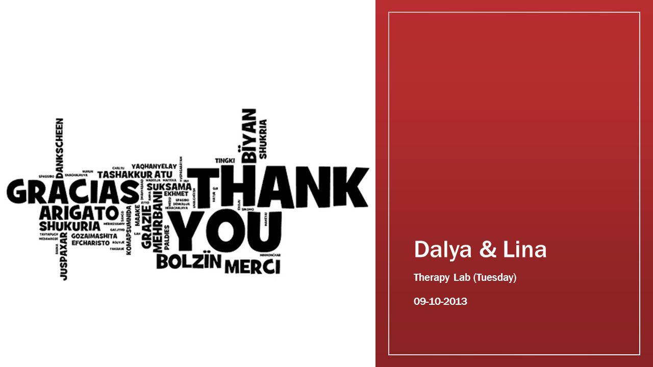 Dalya & Lina Therapy Lab (Tuesday) 09-10-2013