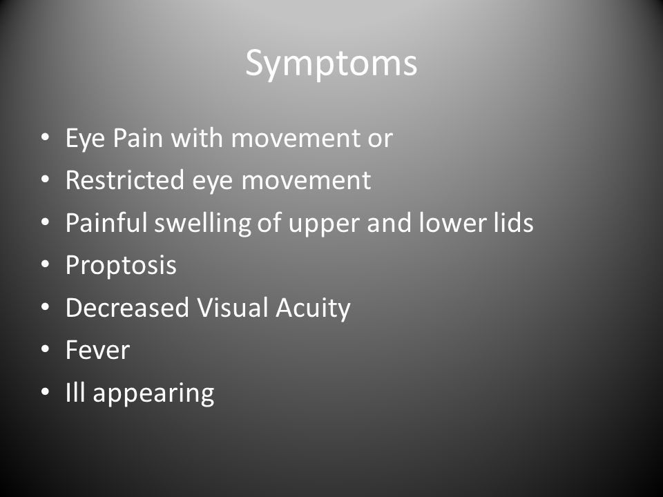 Symptoms Eye Pain with movement or Restricted eye movement