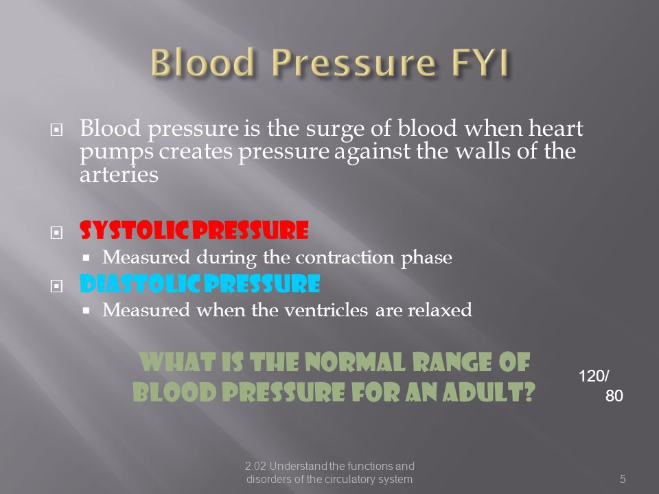 Blood Pressure FYI What is the normal range of