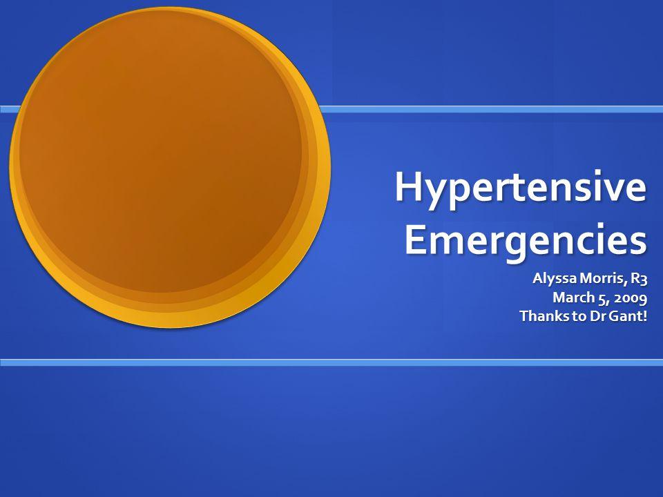 Hypertensive Emergencies