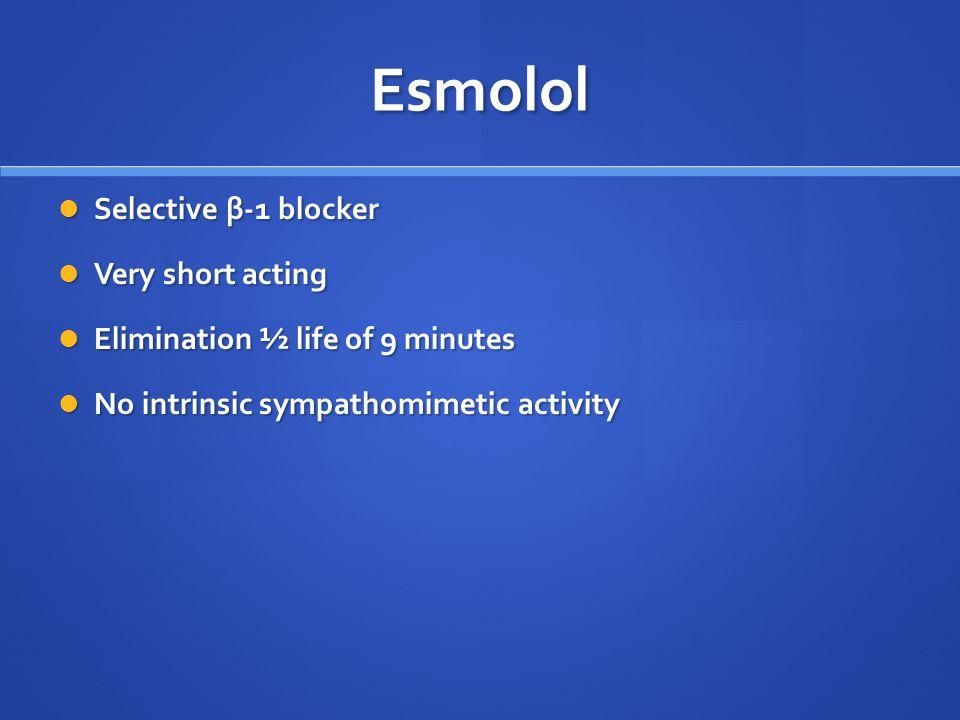 Esmolol Selective β-1 blocker Very short acting