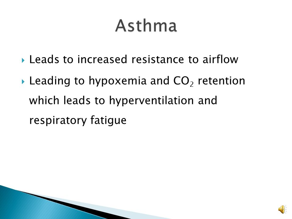 Asthma Leads to increased resistance to airflow
