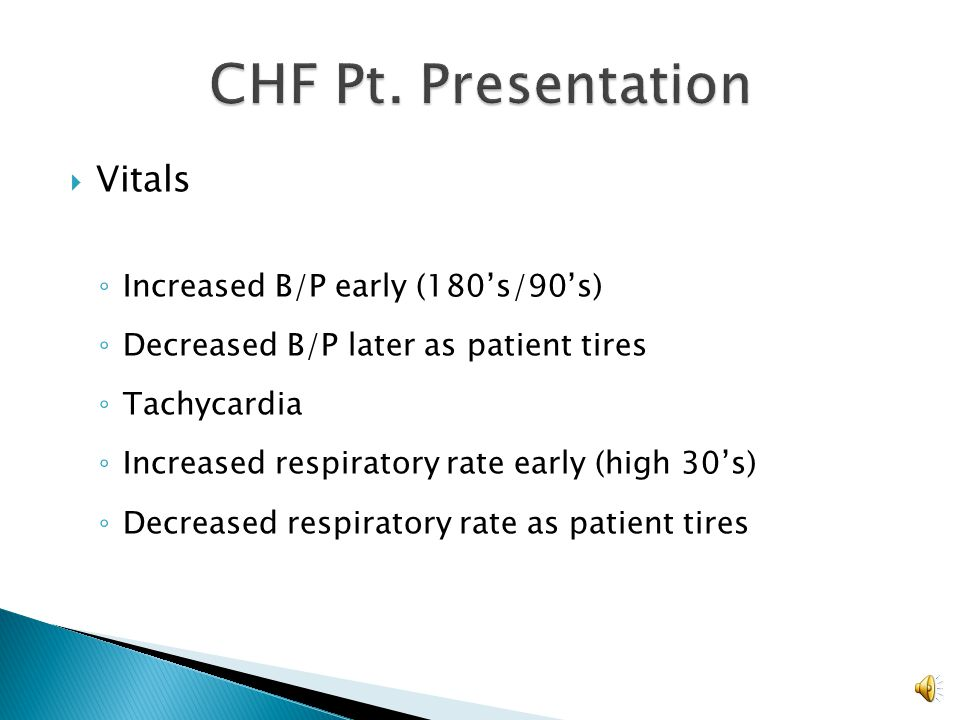 CHF Pt. Presentation Vitals Increased B/P early (180's/90's)