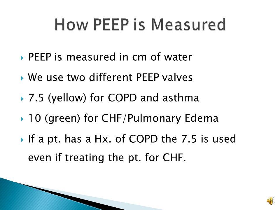 How PEEP is Measured PEEP is measured in cm of water