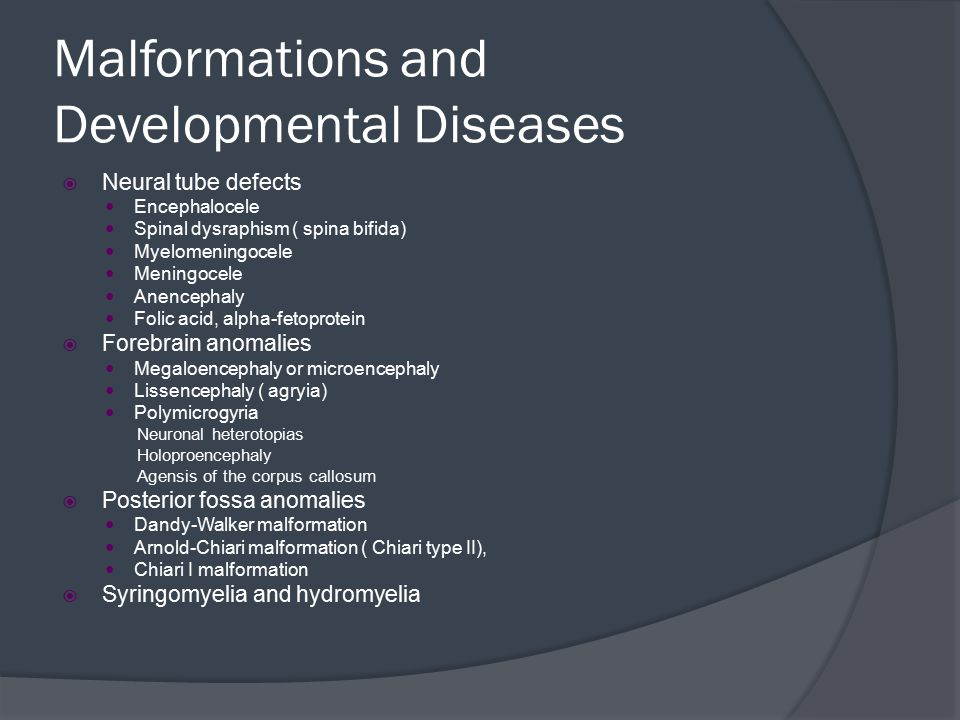 Malformations and Developmental Diseases