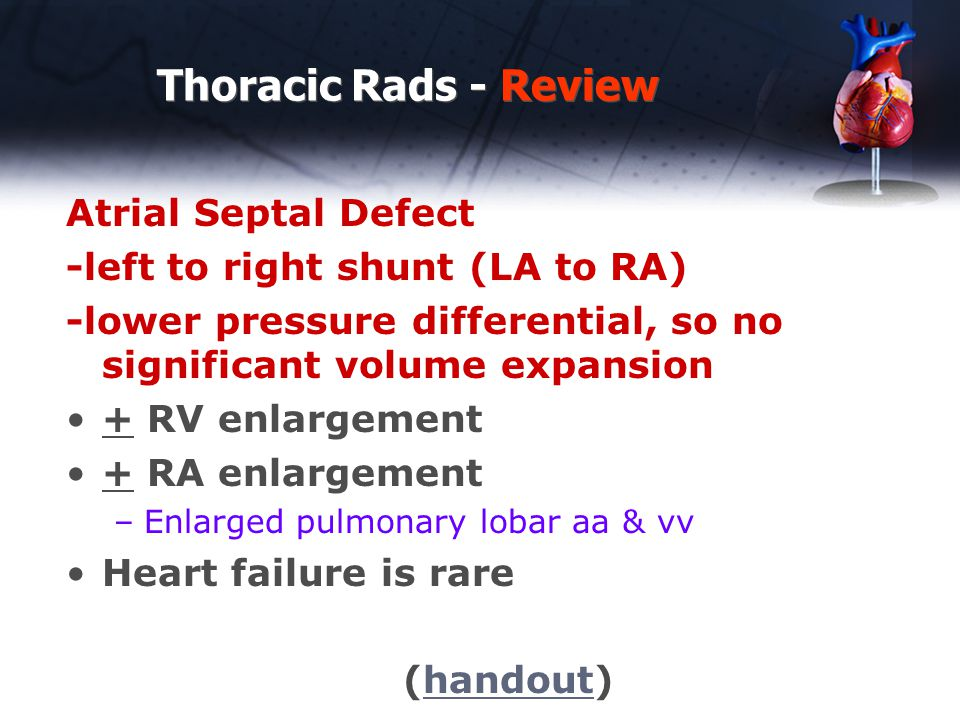 Thoracic Rads - Review Atrial Septal Defect