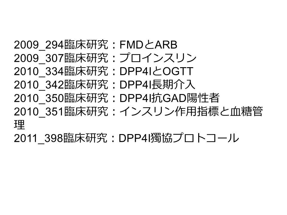 2009_294臨床研究:FMDとARB 2009_307臨床研究:プロインスリン. 2010_334臨床研究:DPP4IとOGTT. 2010_342臨床研究:DPP4I長期介入. 2010_350臨床研究:DPP4I抗GAD陽性者.