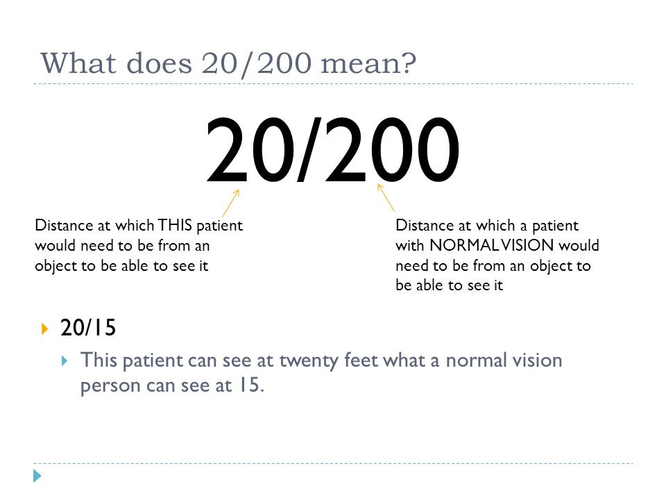 What does 20/200 mean 20/200. 20/15. This patient can see at twenty feet what a normal vision person can see at 15.