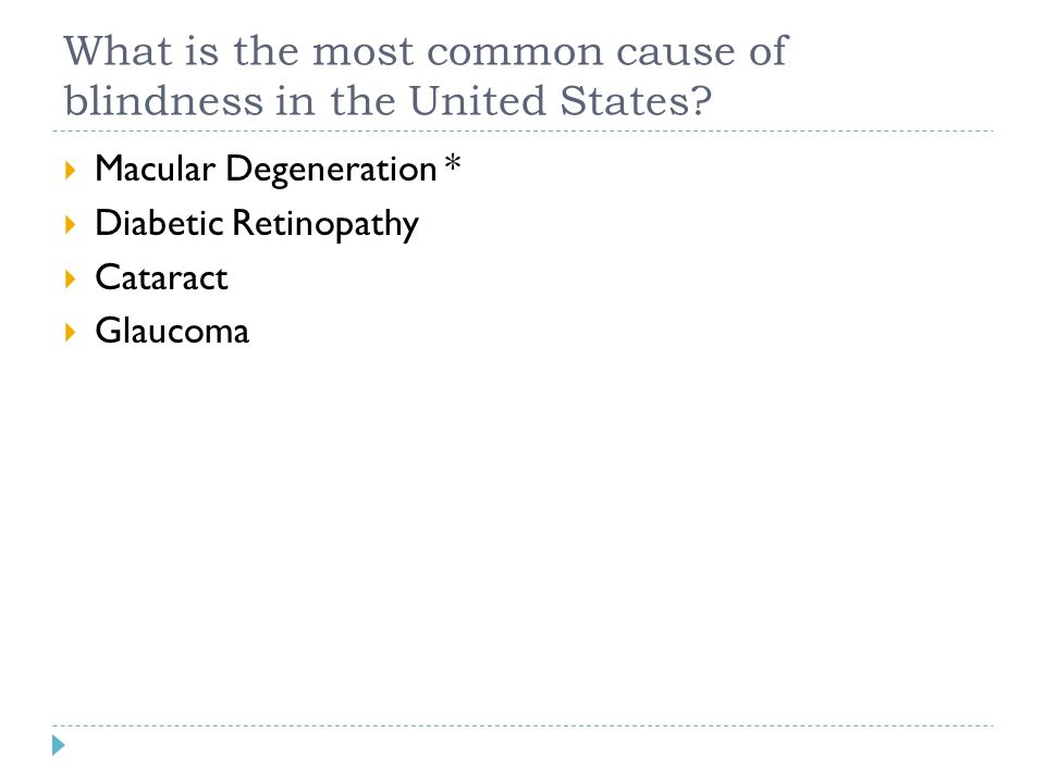What is the most common cause of blindness in the United States