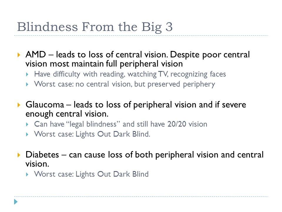 Blindness From the Big 3 AMD – leads to loss of central vision. Despite poor central vision most maintain full peripheral vision.