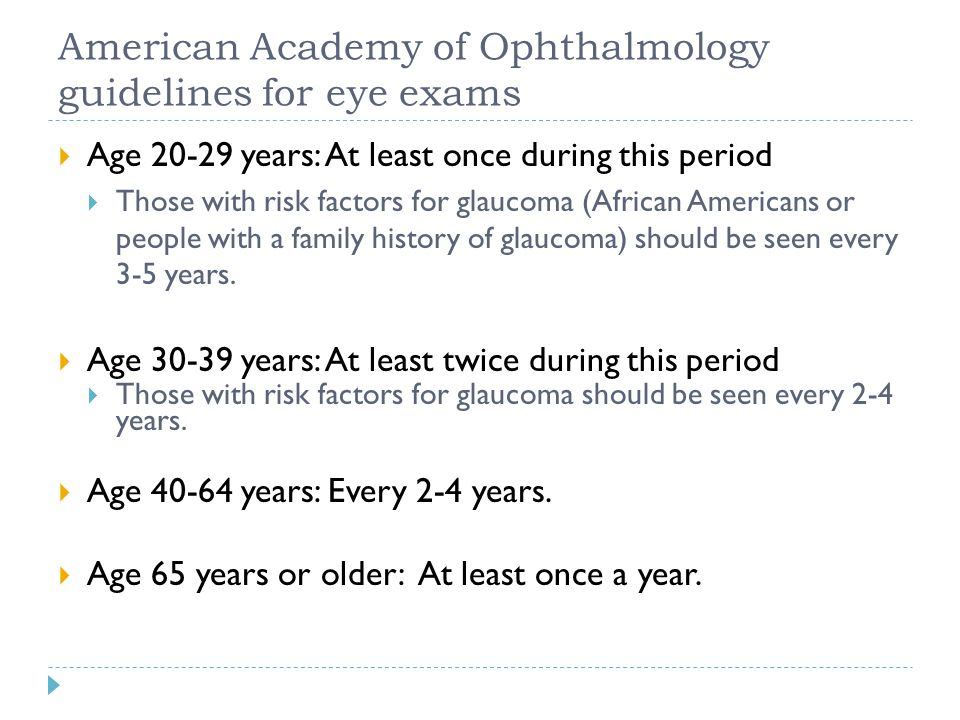 American Academy of Ophthalmology guidelines for eye exams
