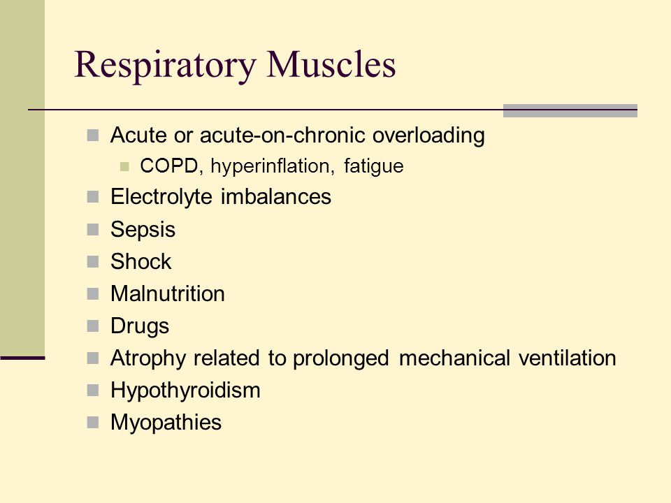 Respiratory Muscles Acute or acute-on-chronic overloading