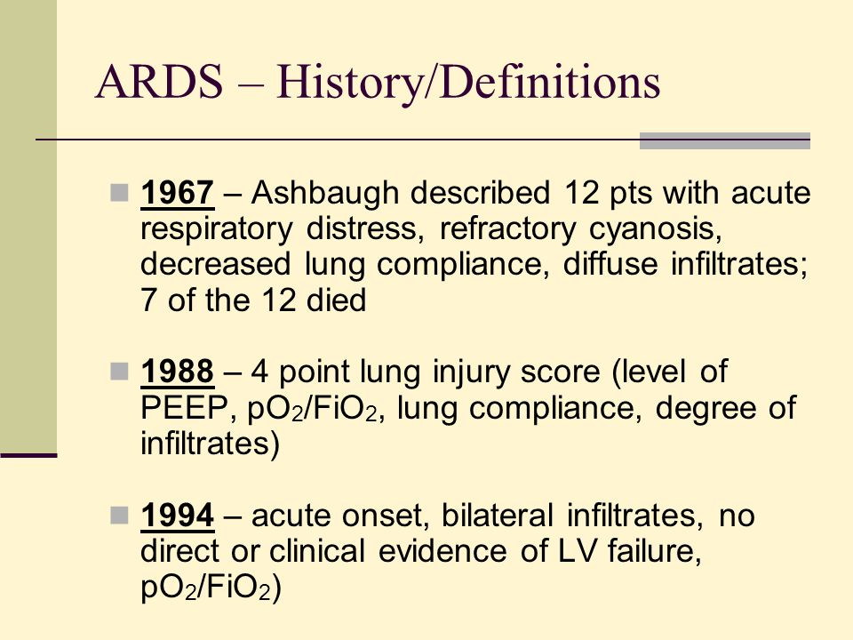 ARDS – History/Definitions