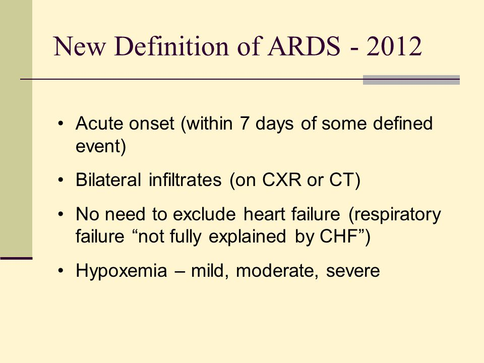 New Definition of ARDS - 2012