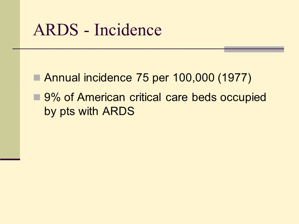 ARDS - Incidence Annual incidence 75 per 100,000 (1977)
