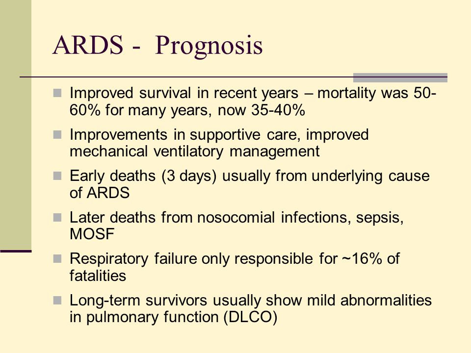ARDS - Prognosis Improved survival in recent years – mortality was 50-60% for many years, now 35-40%