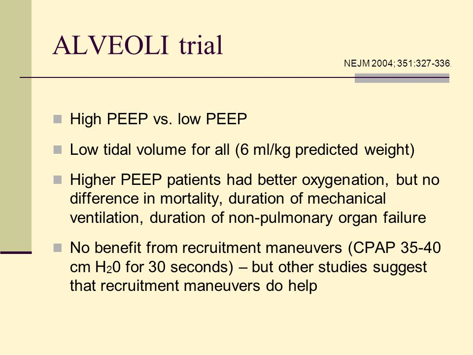 ALVEOLI trial High PEEP vs. low PEEP