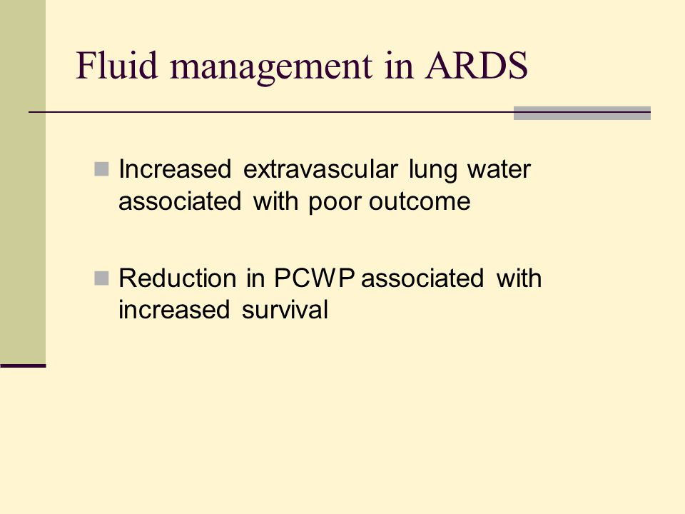 Fluid management in ARDS
