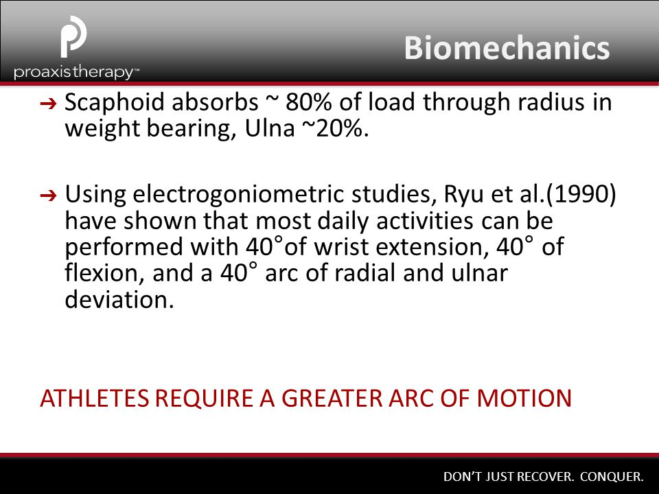 Biomechanics Scaphoid absorbs ~ 80% of load through radius in weight bearing, Ulna ~20%.
