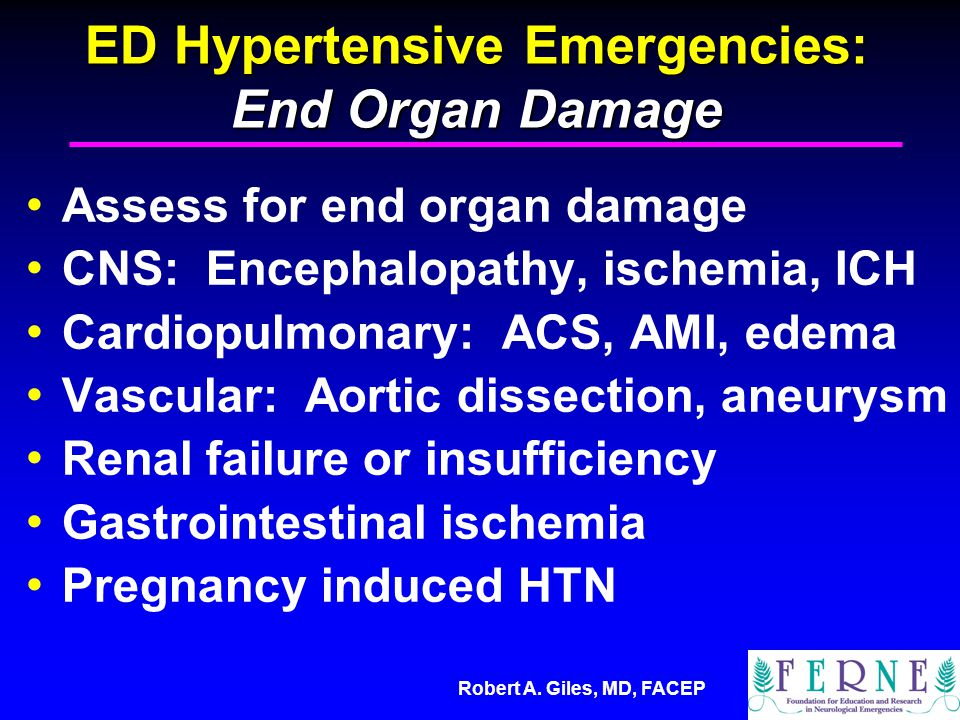 ED Hypertensive Emergencies: End Organ Damage