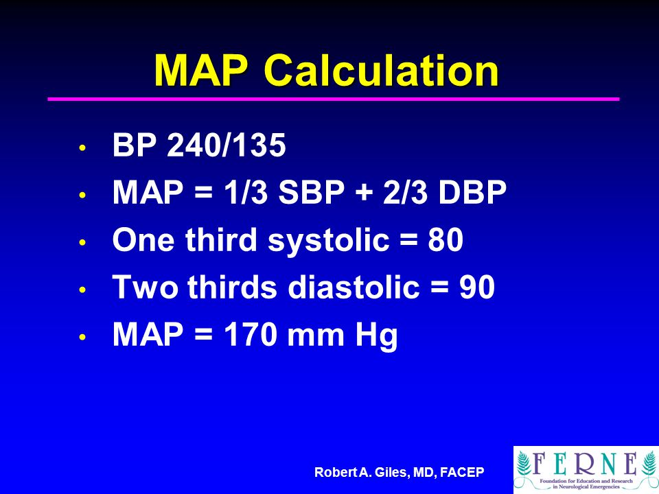 MAP Calculation BP 240/135 MAP = 1/3 SBP + 2/3 DBP