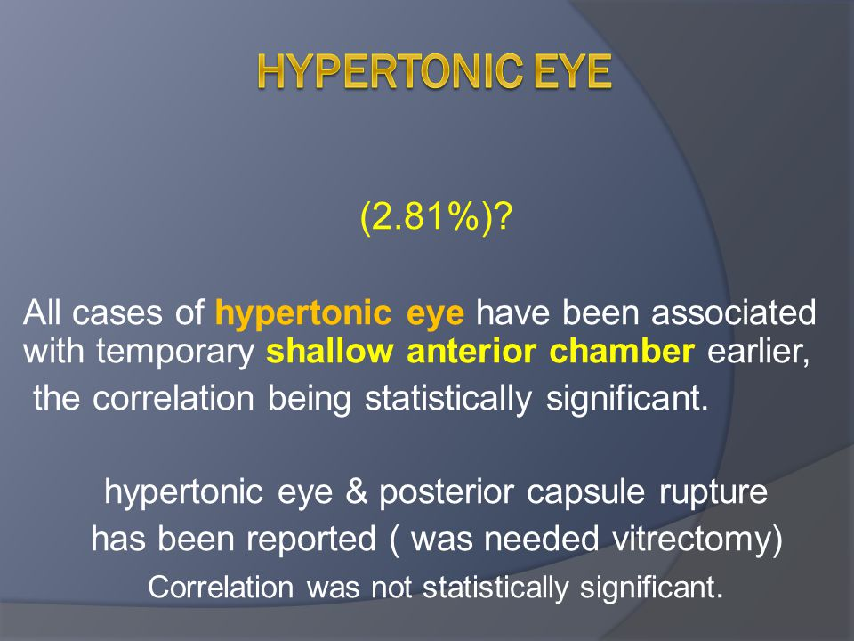Hypertonic eye (2.81%) All cases of hypertonic eye have been associated with temporary shallow anterior chamber earlier,