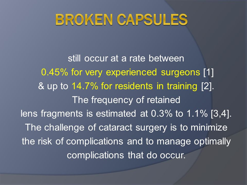 Broken capsules still occur at a rate between