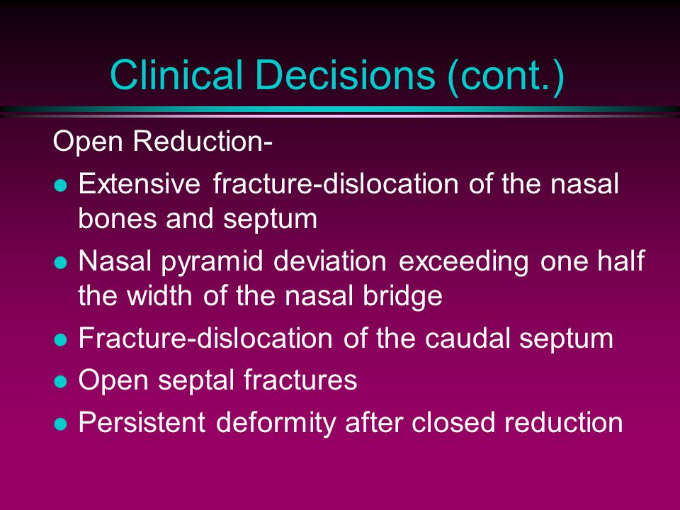 Clinical Decisions (cont.)