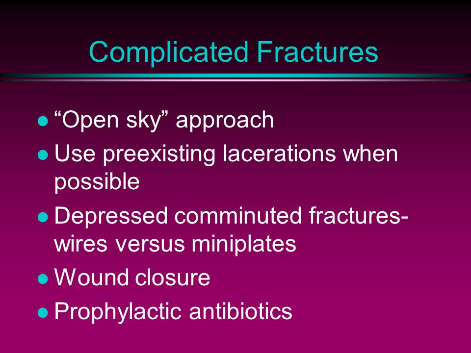 Complicated Fractures