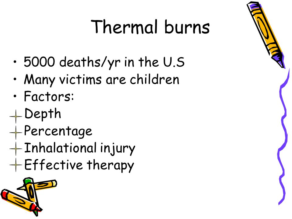 Thermal burns 5000 deaths/yr in the U.S Many victims are children