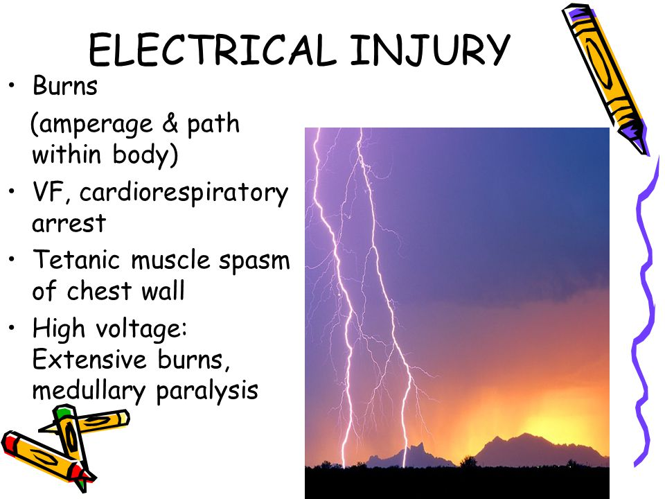 ELECTRICAL INJURY Burns (amperage & path within body)