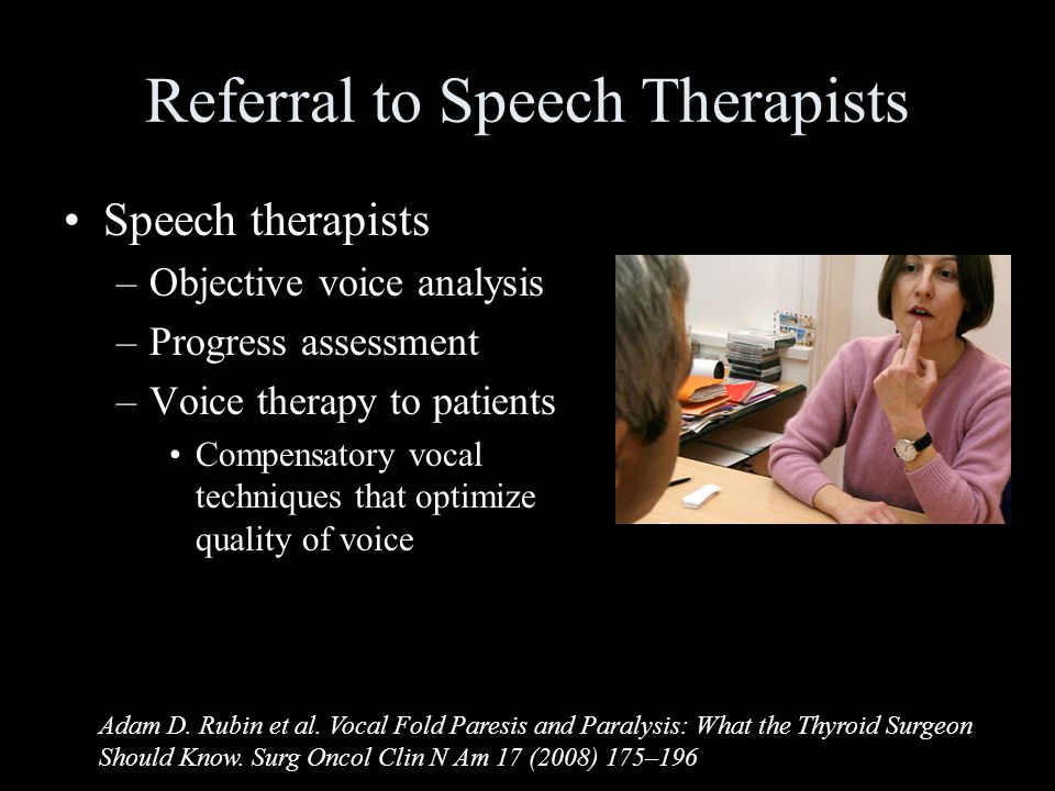Referral to Speech Therapists