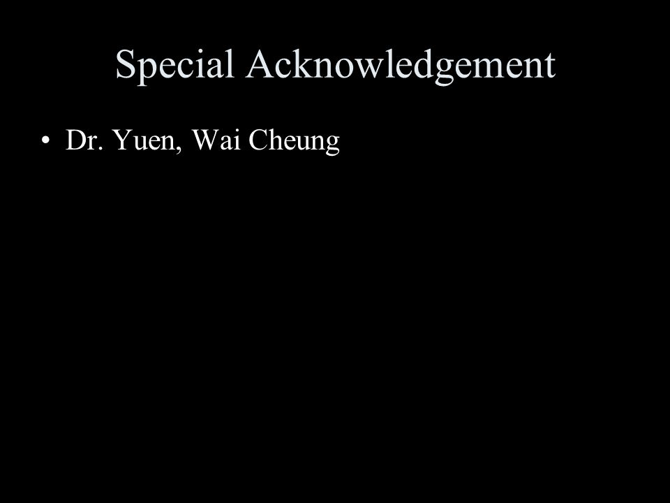 Special Acknowledgement